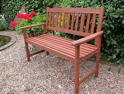 *2 Seater 120cm Wide Traditional Hardwood Garden / Patio Bench*