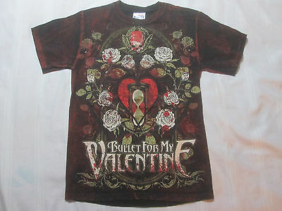 Bullet for my Valentine Tour T-Shirt Skull, Hour Glass, Roses Hanes Small/Petite