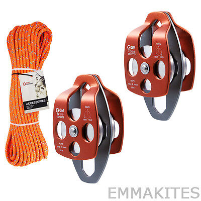 """Block and Tackle Pulley System Set with 7/16"""" Double Braid Rope for Lifting Work"""