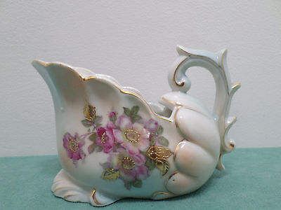 Gravy Boat Porcelain Numbered 7341 Purple Flowers Gold Leaves