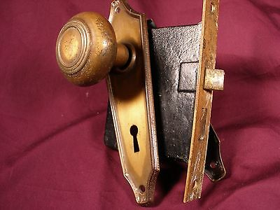 Antique door knob set with lock and mounting plates GREAT LOOK!!