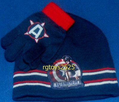 Mavel Captain America Hat Gloves Combo set Avengers New with tags childs
