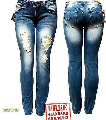 Machine Jeans Womens Ripped Destroyed Distressed Fitted Denim jeans pants new