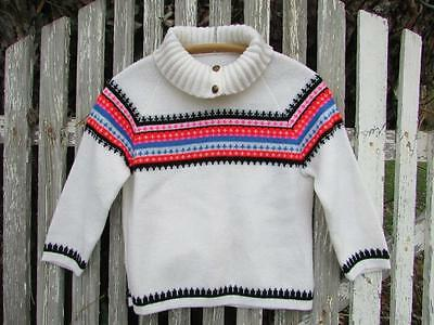 Vintage 70s girls sweater fair isle bright neon pink blue red white EUC acrylic