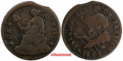 Mexico Free State of Jalisco Copper 1833 1/8 Real, Octavo Real SCARCE KM# 329
