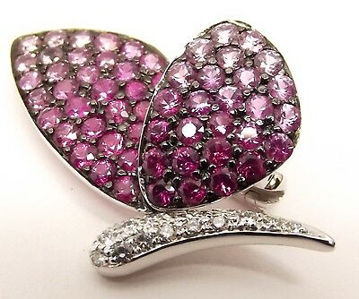 18k White Gold Pink Sapphire Diamond Butterfly Brooch Pin Estate Moth Insect