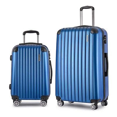 "NEW 2 Pieces Hard Shell Travel Luggage Cases 20"" and 28"" with TSA Lock - Blue"