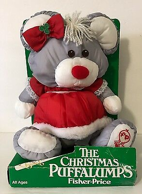 "1988 Fisher Price Puffalump Mrs. Claus Mouse 10"" Christmas Plush 8034 Red In Box"