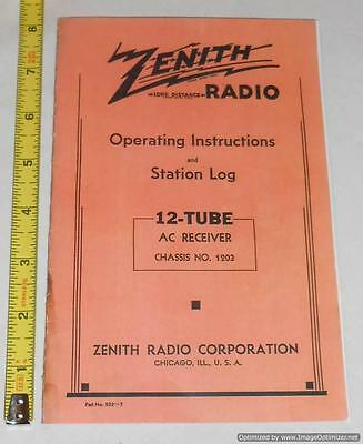 1937 Zenith Radio 12-U-158 12-U-159 Operating Instructions & Station Log (Copy)