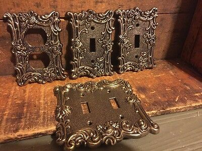 Lot 4 Vintage American Tack Hardware Metal Ornate Light Switch Outlet Cover