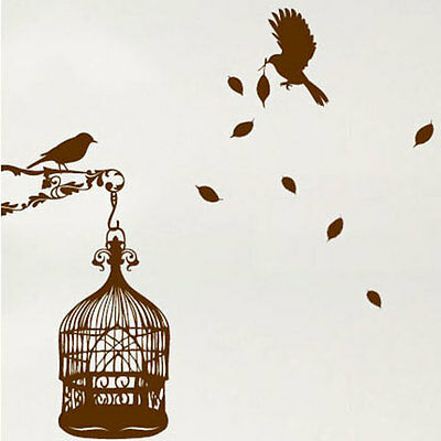 Bird & Cage Leaves Wall stickers / Wall Decals Wall Art AmazingSticker 42