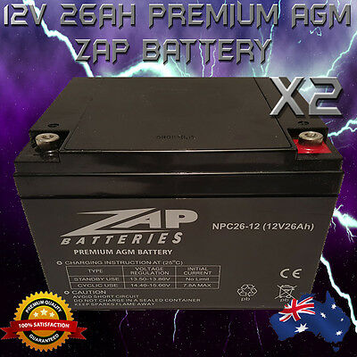 2x 12V 26AH AGM ZAP DEEPCYCLE BATTERY SOLAR GOLF SCOOTER CAMPING MOBILITY MARINE