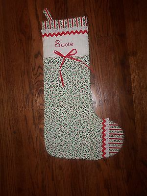 Vintage Light Quilt Embroidered Christmas Stocking Personalized 'SUSIE'