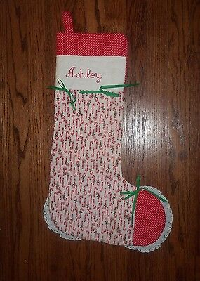 Vintage Light Quilt Embroidered Christmas Stocking Personalized 'ASHLEY'