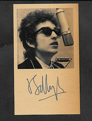 Bob Dylan Autograph Reprint On Genuine Original Period 1960s 3x5 Card
