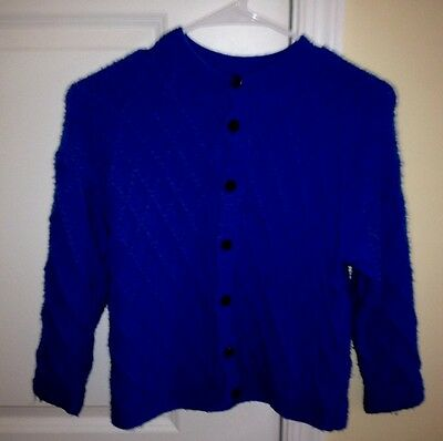 Hand-Knitted in Baltic States Warm Blue Sweater Boys/Girls ages 7-9 Button-Down