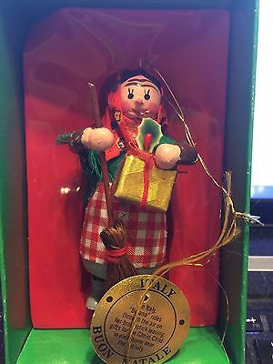 Vintage Sears Christmas Around The World ITALY Wooden Ornament