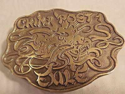 Vtg CHINA POST 1 EXILE Solid Brass Belt Buckle Asian Dragon Head Design