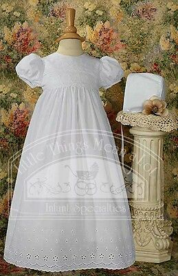 Girls White Christening Gown Floral & Scalloped Eyelet Lace Handmade Size 3-6M