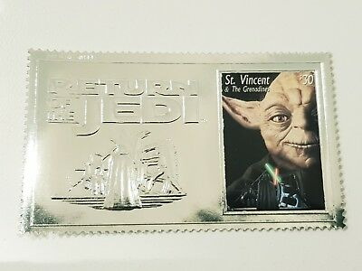 "St Vincent & Grenadines -1996 ""star Wars"" Film Trilogy 3X $30 Silver Foil Stamps"