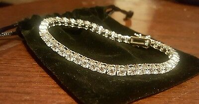 Tennis Bracelet Sterling Silver Round Cut 4 Prong Setting 12.60 tcw 15.7 GRAMS