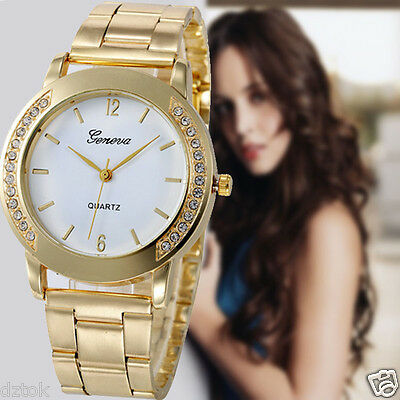 Luxury Women Men Stainless Steel Watch Crystal  Analog Quartz Wrist Watches