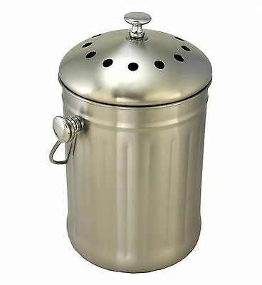 Brushed Stainless Steel Compost Pail & Indoor Kitchen Bin (Sturdy) {SSP-802} NEW