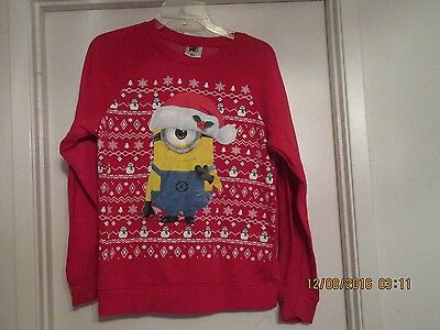 Despicable Me Red Christmas Sweatshirt, Kids Size Xl