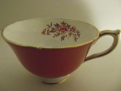 Aynesley England Bone China Orange & White Gold Lined Floral Tea Cup