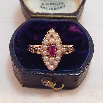 Antique Victorian Ruby & Seed Pearl Navette 14k Ring - Sz 6.5