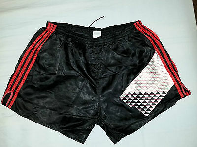 RARE vintage shorts ADIDAS glanz 90s shiny satin football ibiza D8 XL Black CCCP