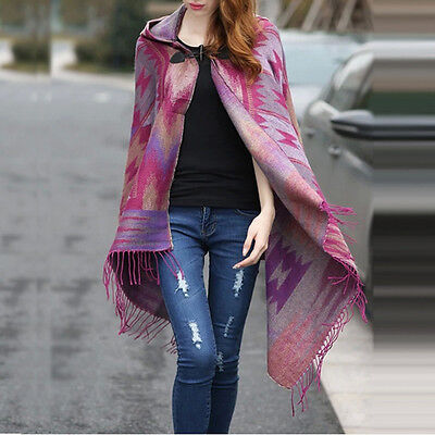 Women Knitted Scarf Patchwork Plaid Poncho Women Cape Poncho Wrap Shawl Blanket