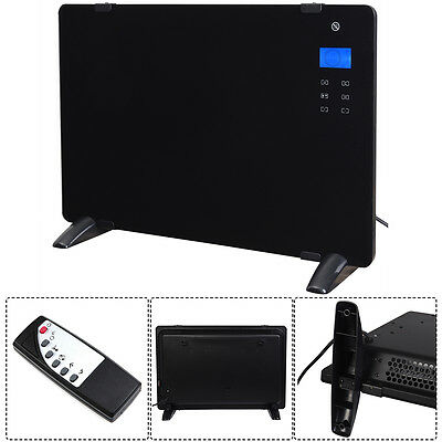 GLASS PANEL ELECTRIC HEATER 1500W WALL MOUNTED 24hr TIMER FREE STANDING BLACK
