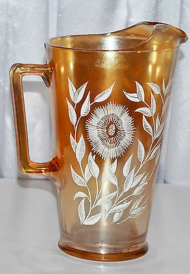"""Vintage Depression Glass Jeanette Marigold Pitcher Wheat """"cosmos""""  9.5"""""""