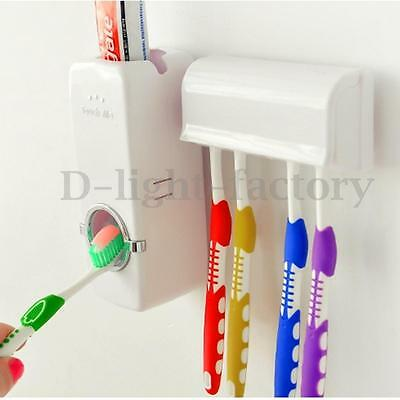 Automatic Toothpaste Dispenser Squeezer + 5 Toothbrush Holder Stand Wall Mount