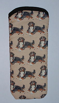 BN-BERNESE MOUNTAIN  DOGS ALL OVER- cotton GLASSES CASE ideal small gift