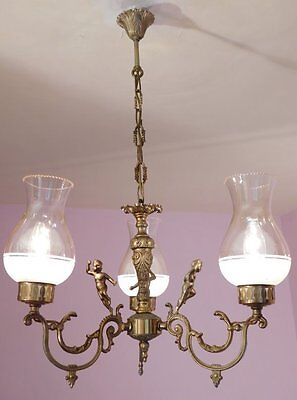 Delightful Vintage French 3 Light Chandelier with Cherubs and Glass Shades