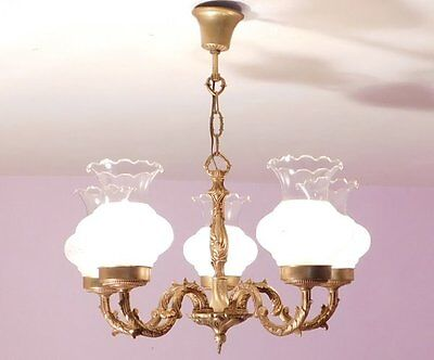 Beautiful Vintage French Bronze 5 Light Chandelier with Glass Shades