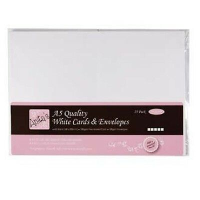 Anita's A5 Card and Envelope Pack of 25 White ANT 1514020