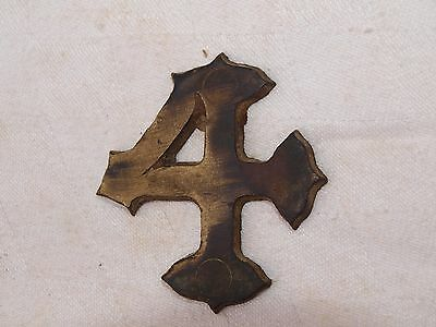 RECLAIMED GOTHIC STYLE BRASS No.4 HOUSE DOOR NUMBER