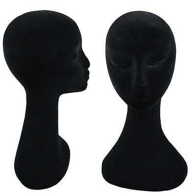 Black Swan Neck Polystyrene Female Mannequin Head Display Wig Stand 50cm