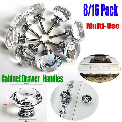 16X 40MM Clear Diamond Crystal Glass Door Knobs Handles Drawer Cabinet Furniture