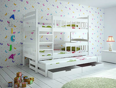 Kate Triple Wooden Bunk Bed for Kids made of Solid Wood with 3 free mattress