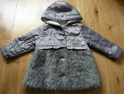 IKKS Absolutely Amazing Grey Coat with Faux Fur Trim Size 18 mths Excellent Cond