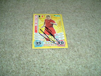 Kevin De Bruyne - Belgium - Signed Match Attax 2014 World Cup Trade Card