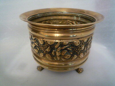 A Gorgeous Brass Planter with3 Feet.  Made in England 8 inch dia