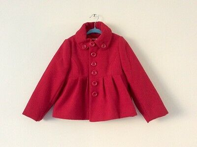 Girls Beautiful NEXT Red Smart Coat - Immaculate Condition 3-4yrs