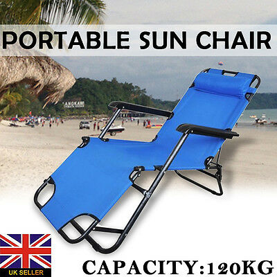 Folding Gravity Sun Lounger Deck Chair Recliner Garden Bed Reclining Headrest #2