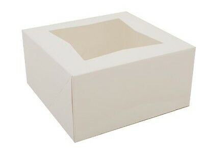 """Southern Champion Tray 24023 Paperboard White Window Bakery Box, 6"""" Length x 6"""""""