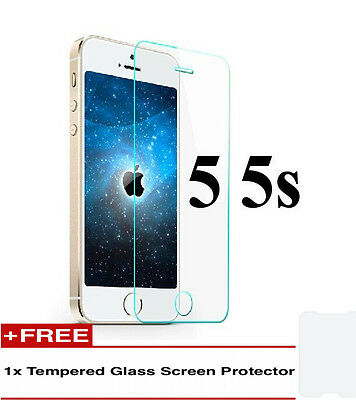 100%Genuine Tempered Glass Screen Protector 1+1 For Iphone 5S {{oj16